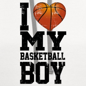 i_love_my_basketball_boy Women's T-Shirts - Contrast Hoodie