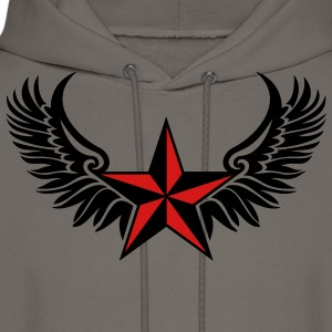 Nautical Star Wings, Tattoo Style, Protection Sign T-Shirts - Men's Hoodie