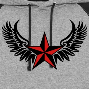 Nautical Star Wings, Tattoo Style, Protection Sign T-Shirts - Colorblock Hoodie