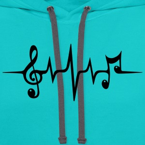 Heart Rate Pulse Music Note Clef Electro Classic T-Shirts - Contrast Hoodie