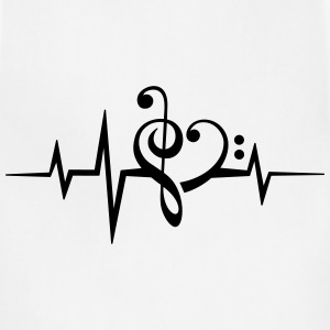 Frequency music notes clef heart pulse bass beat Women's T-Shirts - Adjustable Apron