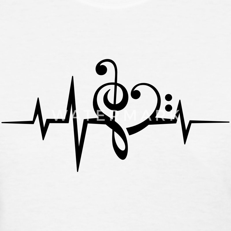 Frequency music notes clef heart pulse bass beat Women's T-Shirts - Women's T-Shirt