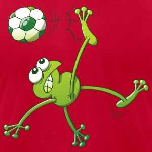Frog Executing a Bycicle Kick with a Soccer Ball Hoodies - Men's T-Shirt by American Apparel