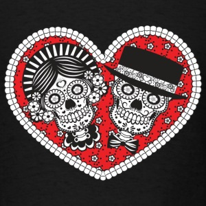 Sugar Skull Couple Long Sleeve Shirts - Men's T-Shirt