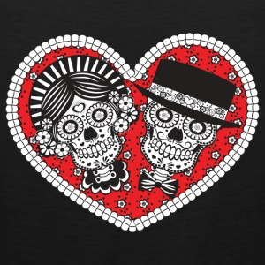 Sugar Skull Couple Long Sleeve Shirts - Men's Premium Tank
