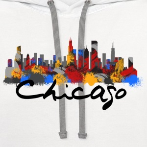 Chicago Illinois Skyline - Contrast Hoodie