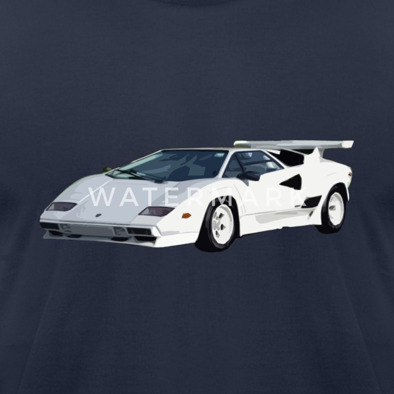 80's White Lamborghini T-Shirts - Men's T-Shirt by American Apparel