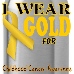 I wear gold for childhood awareness template Women's T-Shirts - Water Bottle