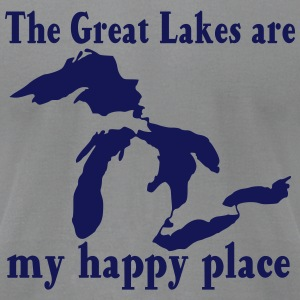 Great Lakes / my happy place Long Sleeve Shirts - Men's T-Shirt by American Apparel