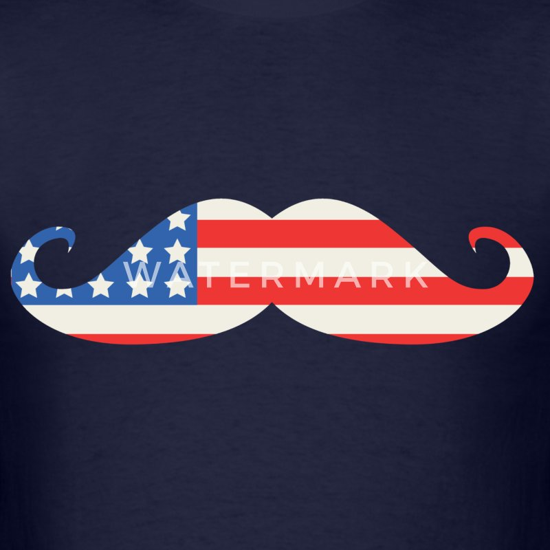 American Flag Moustache 4th of July - Men's T-Shirt