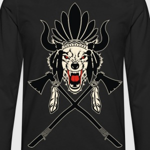 Wolf Indian Headdress - Men's Premium Long Sleeve T-Shirt