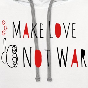 Make Love Not War Doodle T-Shirts - Contrast Hoodie