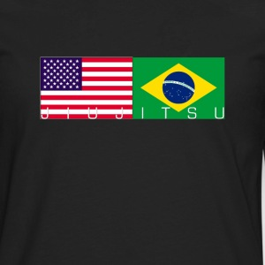 Jiu Jitsu with USA and Brazil Flag - Men's Premium Long Sleeve T-Shirt