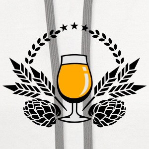 beer glass, hops and malt (3c) T-Shirts - Contrast Hoodie