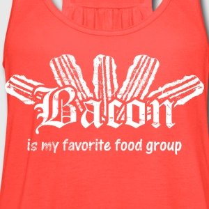Bacon is My Favorite Food Group - White Print Women's T-Shirts - Women's Flowy Tank Top by Bella