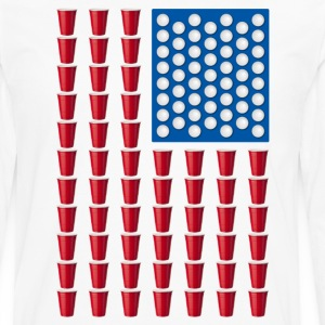 Beer Pong Drinking Game American Flag T-Shirts - Men's Premium Long Sleeve T-Shirt