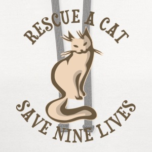 Rescue A Cat Save Nine Lives T-Shirts - Contrast Hoodie