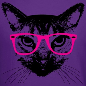 Hipster Cat with Pink Glasses Hoodies - Crewneck Sweatshirt