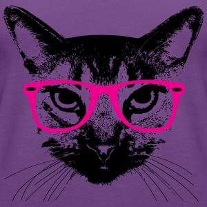 Hipster Cat with Pink Glasses Hoodies - Women's Premium Tank Top