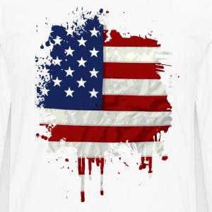 United States Flag Paint Splatter T-Shirts - Men's Premium Long Sleeve T-Shirt