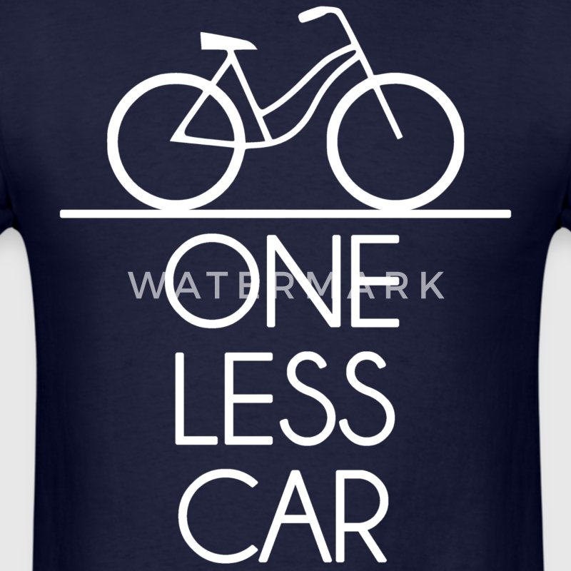 One Less Car Earth Friendly Bicycle T-Shirts - Men's T-Shirt