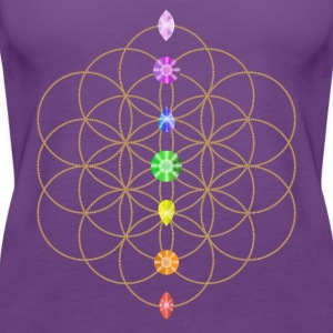 Flower Of Life With Chakra Stones T-Shirts - Women's Premium Tank Top