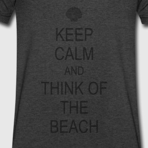 Keep Calm Beach Long Sleeve Shirts - Men's V-Neck T-Shirt by Canvas