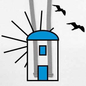 Greek windmill - Gulls - V2 Women's T-Shirts - Contrast Hoodie