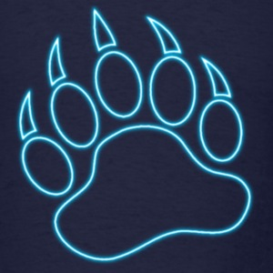 Neon Blue Bear Paw - Men's T-Shirt