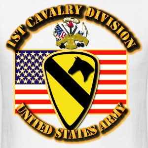 1st Cavalry Division w Flag - Men's T-Shirt