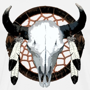 Bison skull on dream catcher  - Men's Premium T-Shirt