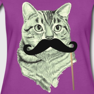 Cute Cat with Mustache Baby Long Sleeve    - Women's Premium T-Shirt