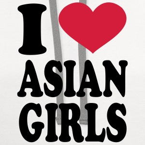 I Love Asian Girls T-Shirts - Contrast Hoodie
