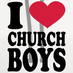 I Love Church Boys T-Shirts - Contrast Hoodie