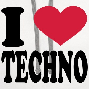 I Love Techno T-Shirts - Contrast Hoodie