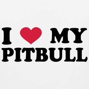 I Love My pitbull T-Shirts - Men's Premium Tank