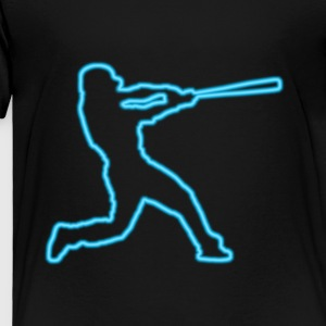 Neon Blue Baseball Batter - Toddler Premium T-Shirt