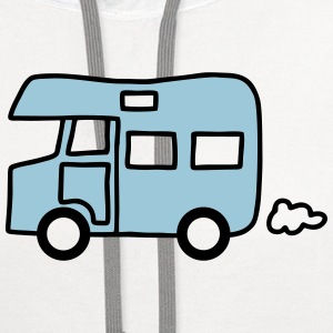 Caravan - house on wheels - V2 T-Shirts - Contrast Hoodie