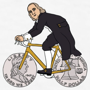 ben franklin on bike with half dollar wheels Drinkware - Men's T-Shirt