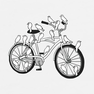 bird bike with white doves Drinkware - Men's Premium T-Shirt