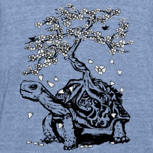 Turtle with a bonsai on the carapace Long Sleeve Shirts - Unisex Tri-Blend T-Shirt by American Apparel