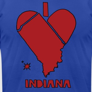 i heart Indiana (red) Hoodies - Men's T-Shirt by American Apparel