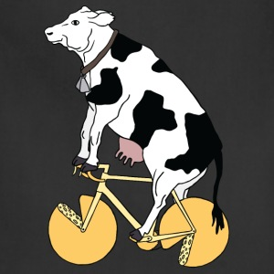 cow riding bike with cheese wheels Men - Adjustable Apron