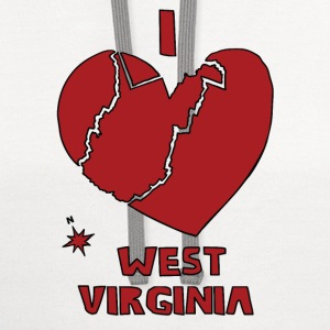 i heart West Virginia (red) T-Shirts - Contrast Hoodie