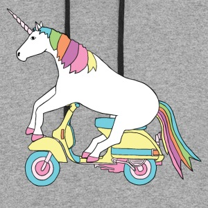unicorn riding motor scooter T-Shirts - Colorblock Hoodie