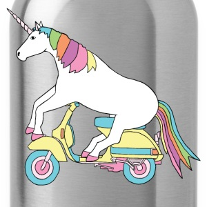 unicorn riding motor scooter T-Shirts - Water Bottle
