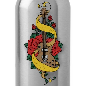old school guitar and rose - Water Bottle