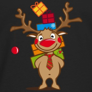 A reindeer with gifts and a Christmas ball Hoodies - Men's Premium Long Sleeve T-Shirt