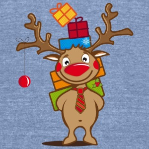 A reindeer with gifts and a Christmas ball Long Sleeve Shirts - Unisex Tri-Blend T-Shirt by American Apparel