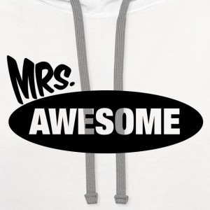 Mr. Awesome & Mrs. Awesome Couples Design Women's T-Shirts - Contrast Hoodie